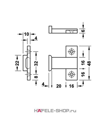 Деталь Keku EHS крепление винтами Varianta диаметром 3,0 или 5,0 мм.