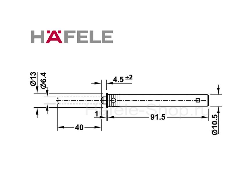 Нажимной толкатель с мягким наконечником, длина хода 40 мм, монтаж в отверстие 11 мм.