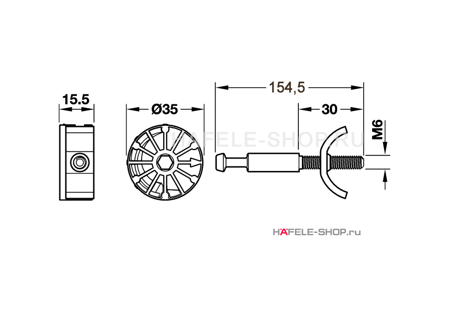 Стяжка рабочих плит Maxifix 35, длина болта 154,5 мм