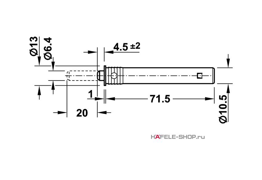 Нажимной толкатель с магнитом, длина хода 20 мм, монтаж в отверстие 11 мм.
