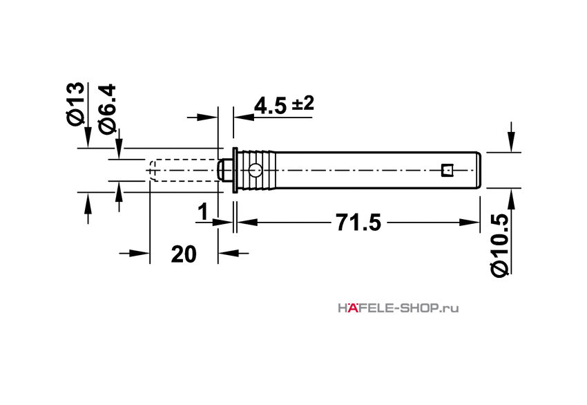 Нажимной толкатель с мягким наконечником, длина хода 20 мм, монтаж в отверстие 11 мм.
