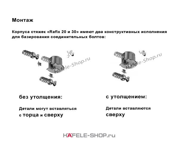 Стяжка мебельная RAFIX 20 никелированная для деталей толщиной от 16 мм