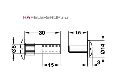 Стяжной болт мебельный М6 для деталей 32-42 мм никелированный