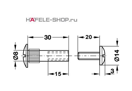 Стяжной болт мебельный М6 для деталей 36-46 мм никелированный