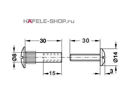 Стяжной болт мебельный М6 для деталей 46-56 мм никелированный