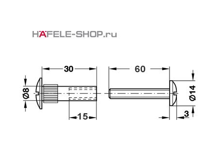 Стяжной болт мебельный М6 для деталей 76-86 мм никелированный