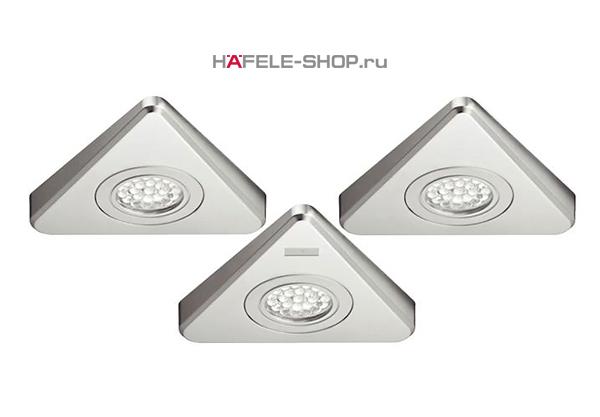 Комплект из 3х светодиодных светильников HAFELE модель 3003 24V/1,65W  свет теплый белый, корпус цвет никель матовый.