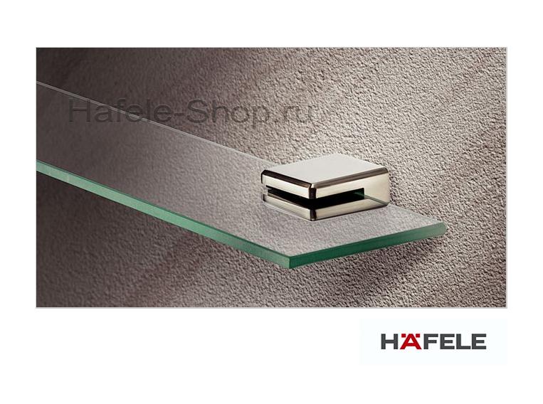 Зажимной полкодержатель для стекла толщиной 8 мм. Размер 45 х 46,5 х 24 мм. Цвет нержавеющей стали.