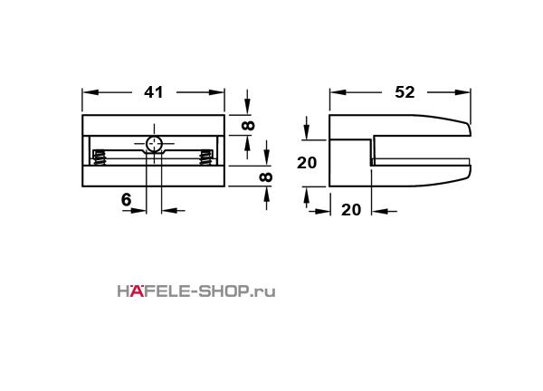 Полкодержатель, цвет нержавеющая сталь 8-10 мм