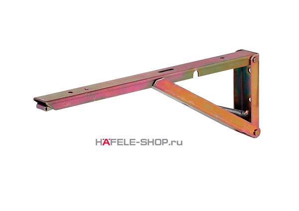 Консоль складная с несущей способностью 40 кг на пару, сталь желтое хроматирование, длина 250 мм.