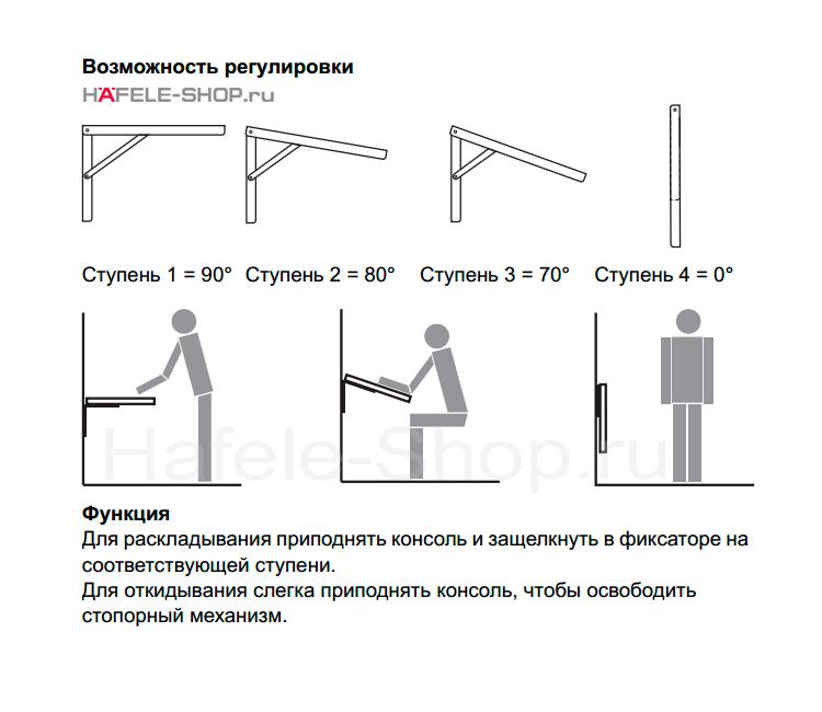 Консоль складная с несущей способностью 150 кг на пару, сталь оцинкованная, длина 300 мм.