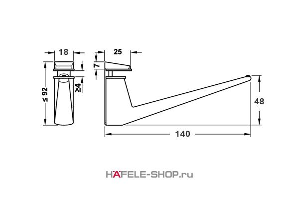 Консоль для полки толщиной 4-35 мм, цвет нержавеющая сталь длина 140 мм