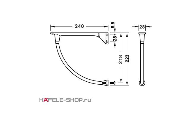 Консоль для деревянных полок, цвет нержавеющая сталь длина 240 мм нагрузка 50 кг. на пару