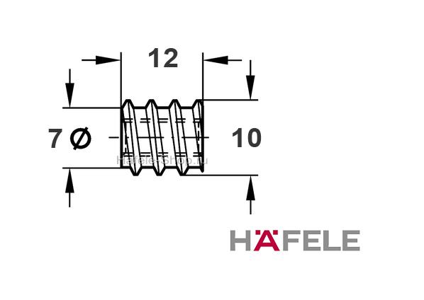 Мебельная муфта M6 длина 12 мм для отверстия 8 мм сталь оцинкованная