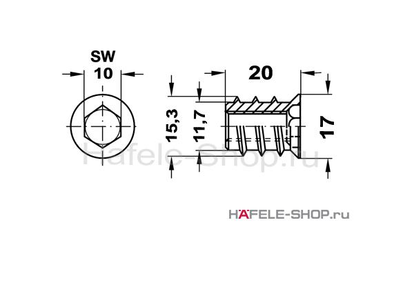 Ввинчиваемая муфта M 10 длина 20 мм для отверстия 12 мм, сталь оцинкованная