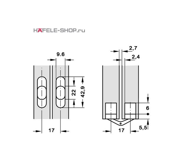 Скрытая мебельная петля Soss для толщины створки 13-16 мм никелированная