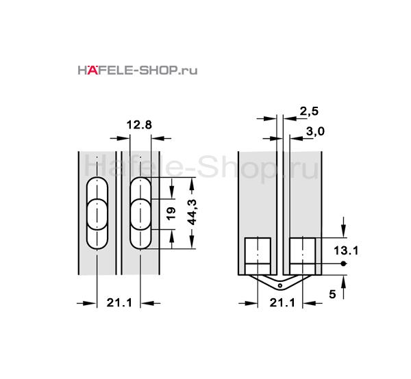Скрытая мебельная петля Soss для толщины створки 19-24 мм никелированная