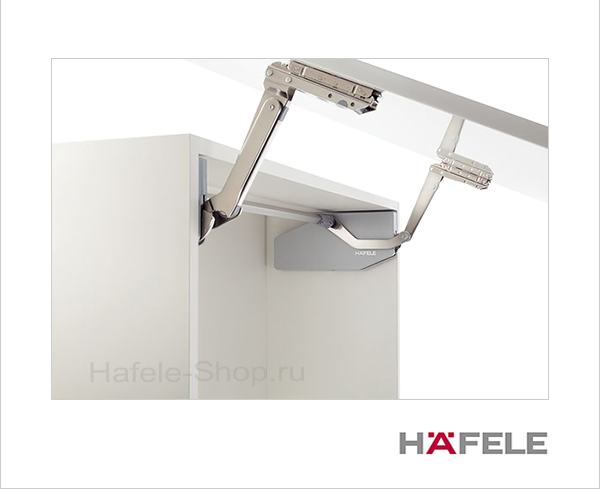 Диагональный подъемный механизм фасада FREE SWING S5sw. Высота фасада 500-670 мм. Вес фасада 4,5- 10,0 кг.