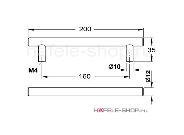 Мебельная ручка серая состаренная, длина 200 мм.