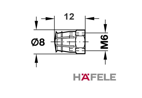 Распорная мебельная муфта латунь M6. Без шарика из акрила. Длина 9 мм. Для отверстия 8 мм.