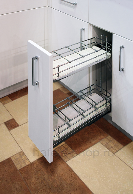 Бутылочница для кухни в шкаф шириной 200 мм, ELEGANCE, дно ДСП белое