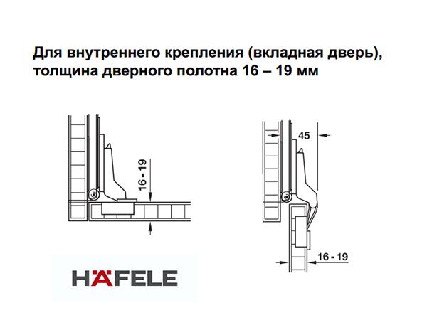 Крепежный комплект Slido Eclipse 16 IF/VF, для вкладной двери толщиной 16-19 мм