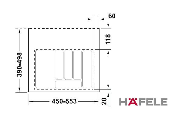 Вставка для столовых приборов, ширина шкафа 600 мм, серая
