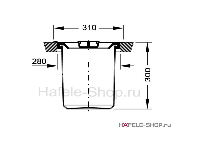 Ведро для мусора встроенное в столешницу, 11 литров, нержавеющая сталь