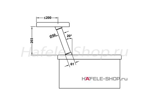 Консоль барная наклонная,  H=200 мм, цвет хром матовый
