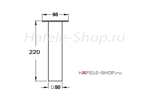 Пилон барный H=220 мм, цвет нержавеющая сталь