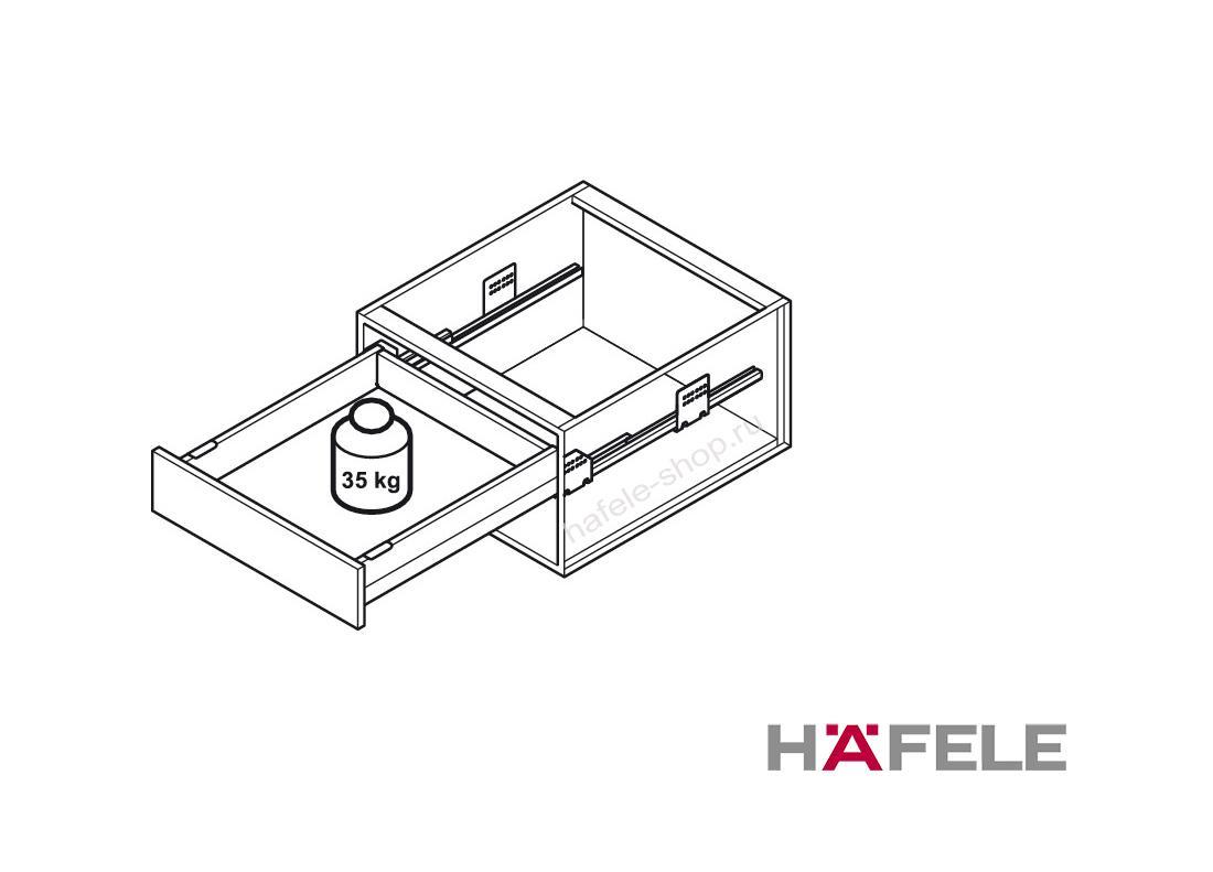 Ящик Matrix Box Push 35, высота 92 мм, ширина шкафа до 600 мм, длина 500 мм, цвет антрацит