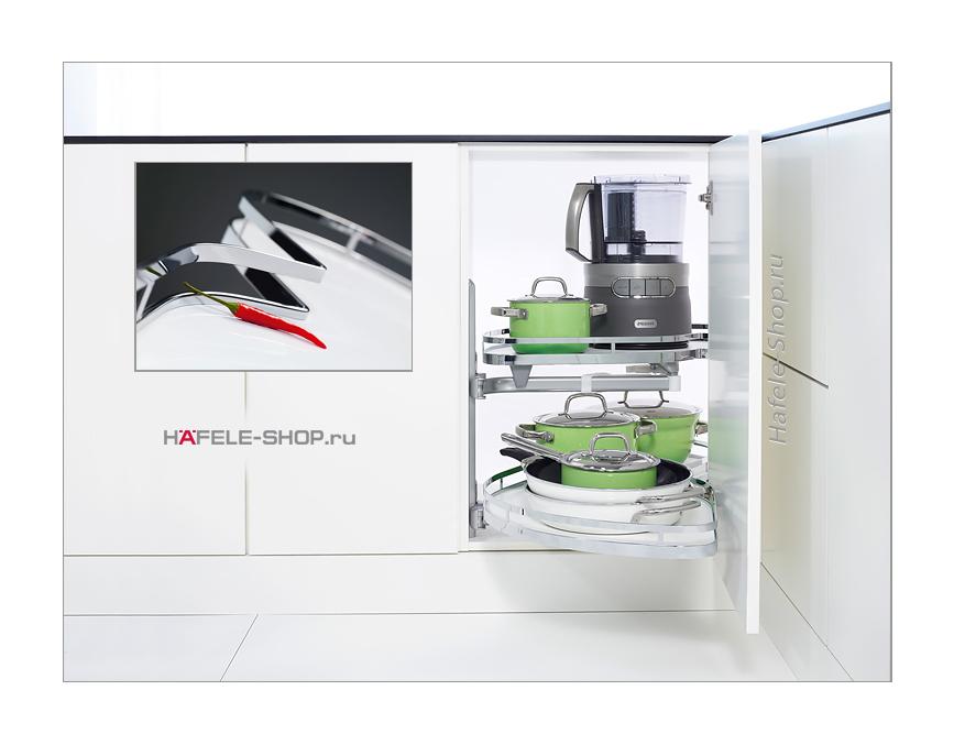 Выдвижные полки в угловой шкаф, Style, для фасада шириной 500 мм, левый, к-кт 2 шт.