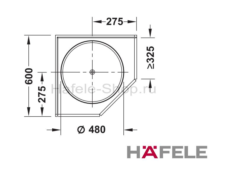 Поворотные полки в верхний угловой шкаф, Classic, диаметр 480 мм, к-кт 2 шт.