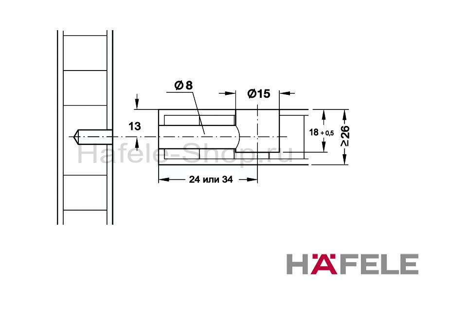 Эксцентрик мебельный MINIFIX 15, никелированный, для плит толщиной от 26 мм