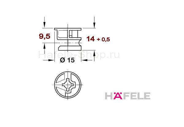 Эксцентрик мебельный MINIFIX 15, никелированный, для плит толщиной от 19 мм