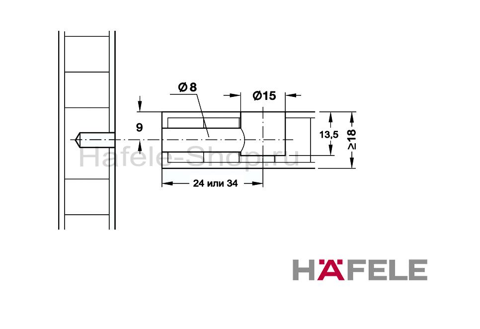 Эксцентрик мебельный MINIFIX 15, никелированный, для плит толщиной от 18 мм