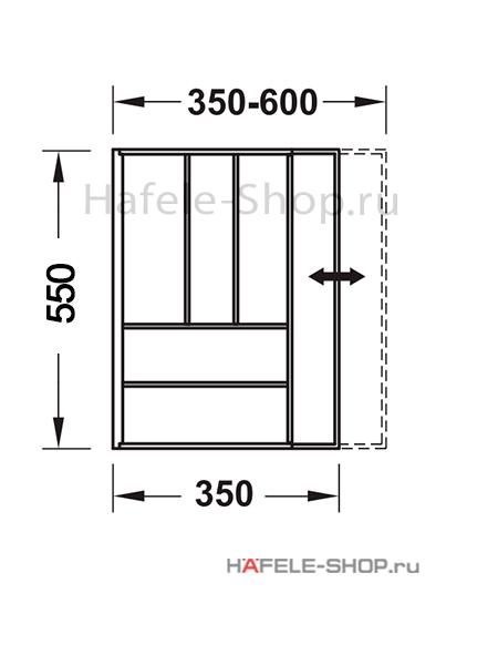 Раздвижной лоток шириной 350-600 мм. Длина 522 мм. Высота 62 мм. Материал бук.