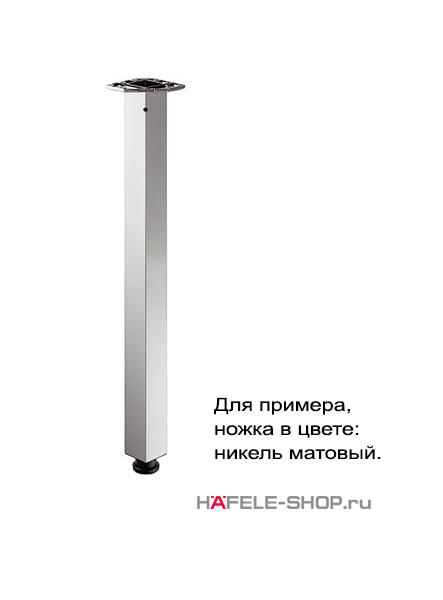 Ножка стола квадратная 60 х 60 мм, длина 705 мм, сталь, покрытие под нержавеющую сталь, лакированная
