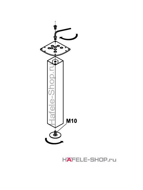 Ножка стола квадратная 100 х 100 мм, длина 705 мм, сталь хромированная, полированная