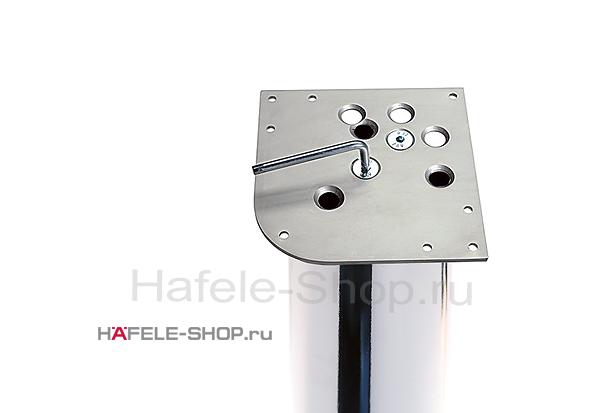 Крепёжная пластина ножки стола 162 х 162 мм, сталь ошкуренная, никелированная
