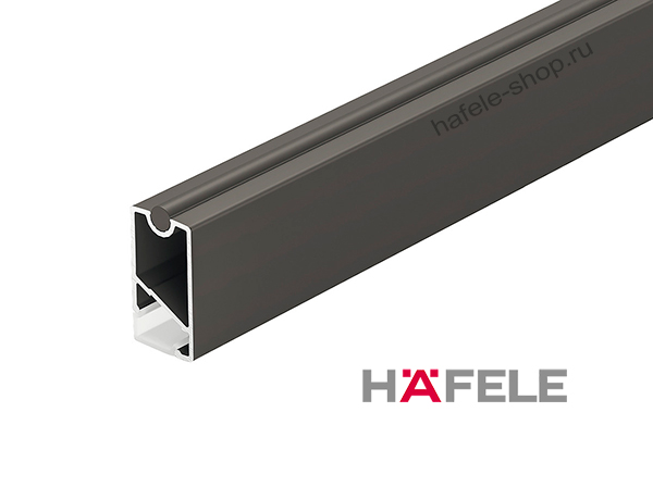 Штанга для одежды прямоугольная черная, алюминий, 34 х 18 х 2500 мм, рассеивателем LED