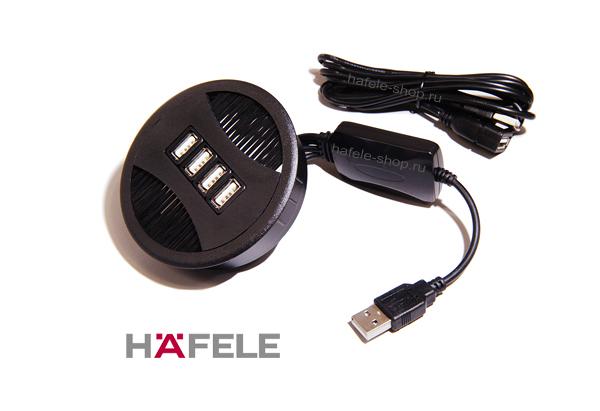 Кабельный канал с USB, диаметр 80 мм, цвет черный.