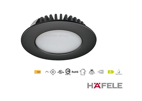 Светильник светодиодный мебельный, модель 2020, черный, свет теплый белый, 3000K.