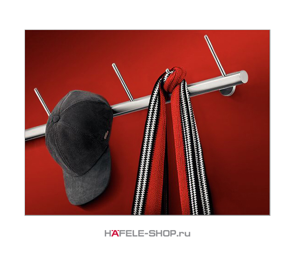 Штанга с крючками для прихожей. Материал нержавеющая сталь. Длина 1000 мм.
