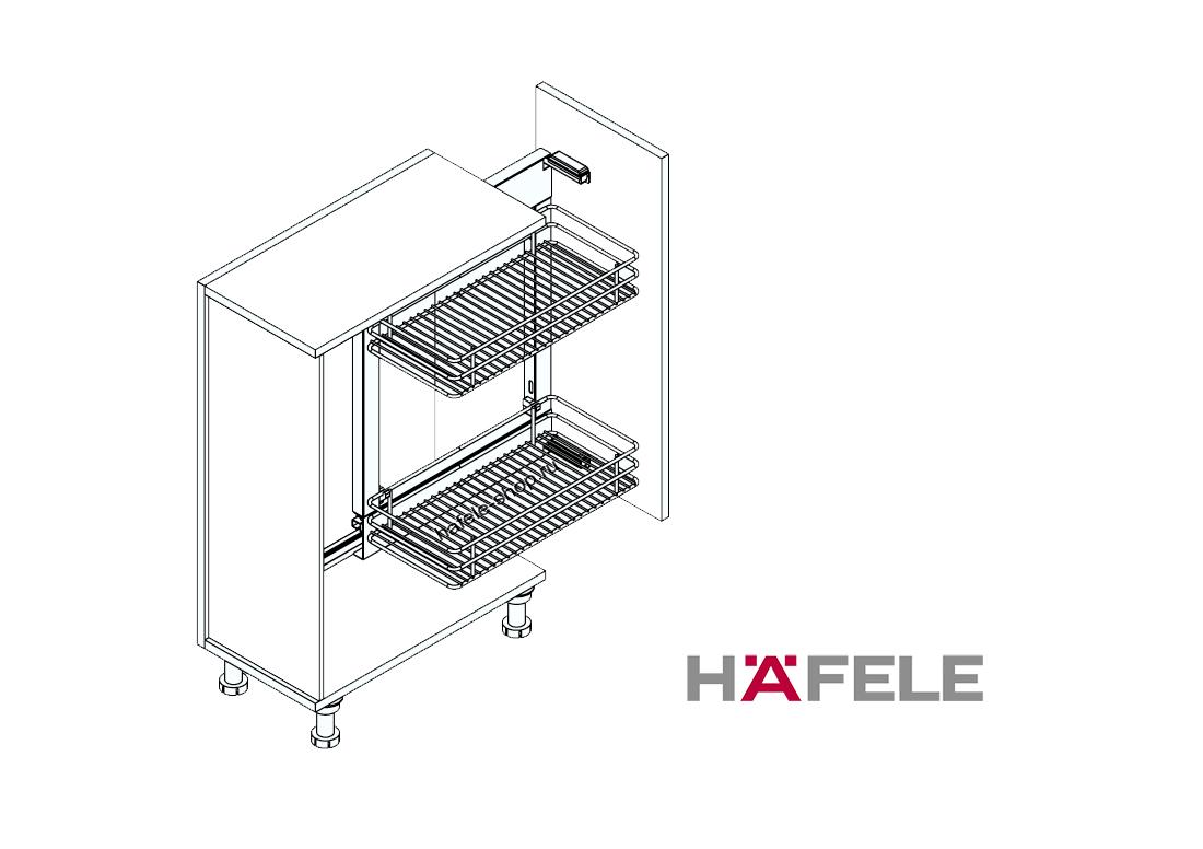 Комплект корзин для кухни в шкаф шириной 250-300 мм, CRYSTAL, правый