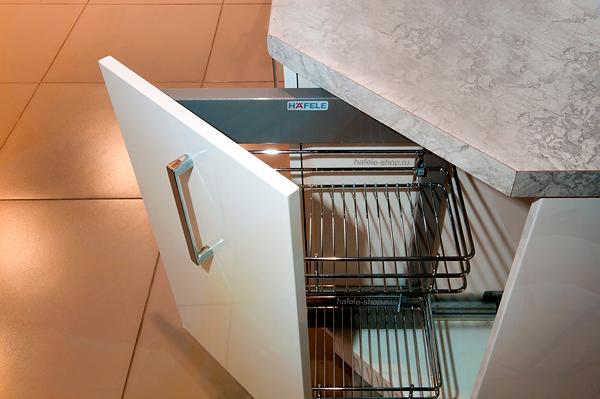 Наполнение углового шкафа в кухне, ширина 300 мм, CRYSTAL, левый