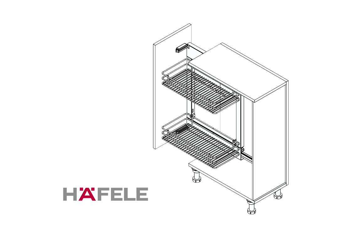 Комплект корзин для кухни в шкаф шириной 250-300 мм, CRYSTAL, левый