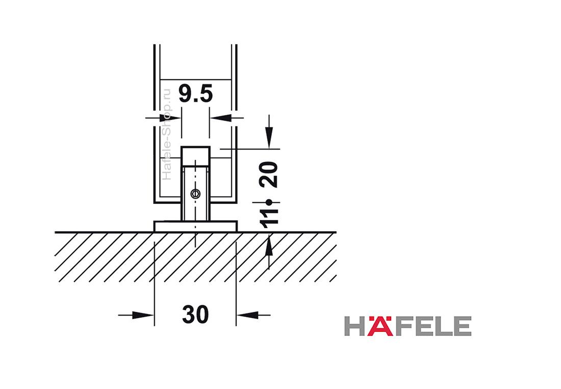Механизм раздвижной двери из древесины, HAFELE D-Line 50-P. Вес двери до 50 кг. Ширина двери от 499 мм. С односторонним демпфером.