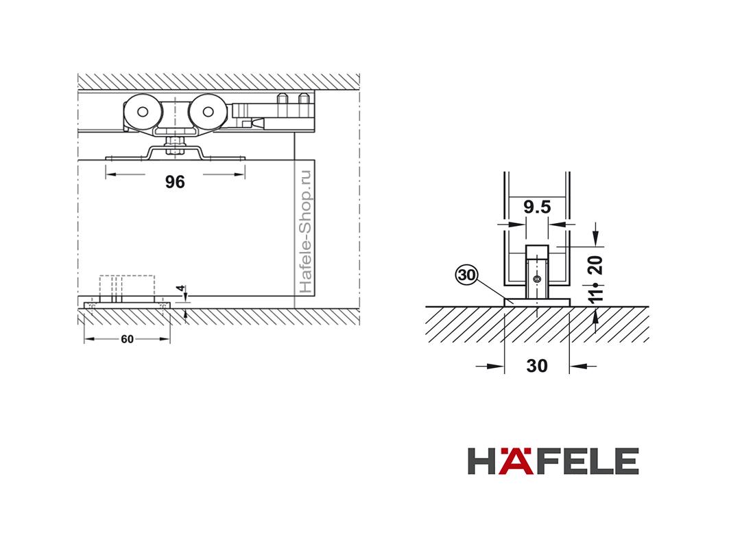 Механизм раздвижной двери из древесины, HAFELE Slido D-Line11 50P. Вес двери до 50 кг. Без демпфера.