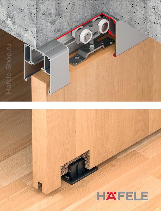 Механизм раздвижной двери из древесины, HAFELE Classic 60-P. Вес двери до 60 кг. Без демпфера.